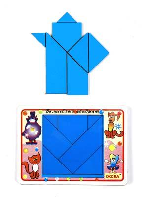 Головоломка Волшебный квадрат - Набор из 7-ми геометрических фигур: треугольники (4 шт.), трапеции (2 шт.), пятиугольник (1 шт.).