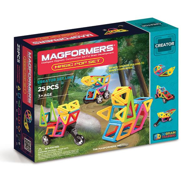 Магнитный конструктор MAGFORMERS 703005 Magic Pop - В набор входят: - 8 магнитных треугольников - 6 магнитных квадратов - 2 магнитных равнобедренных треугольника - 2 магнитных трапеции - 2 магнитных супер прямоугольников - 2 магнитных ромба - 2 пары колес Magformers - 1 мотоциклетное колесо - книг
