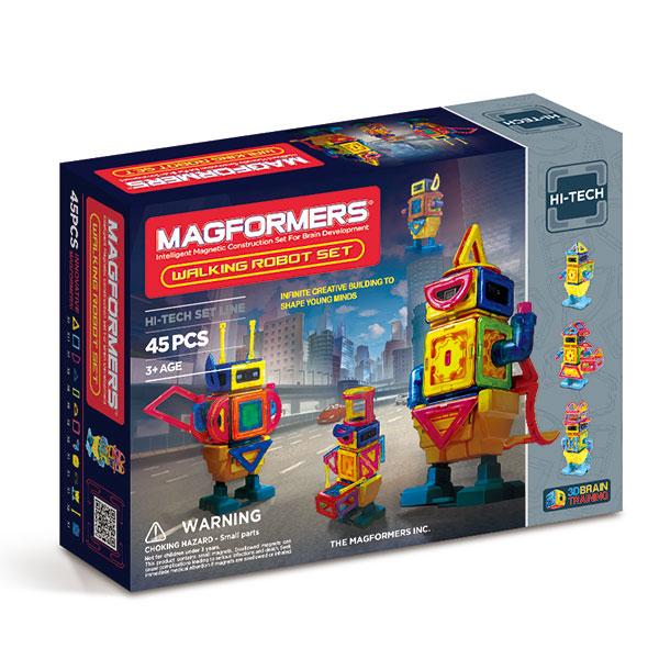 Магнитный конструктор MAGFORMERS 709004 Walking Robot - В набор Magformers Walking Robot входят 45 деталей, а именно: - 4 магнитных треугольника - 11 магнитных квадратов - 4 магнитных трапеции - 2 магнитных треугольника - 8 магнитных прямоугольников - 6 магнитных полукругов - 2 магнитные арки - 1 базов