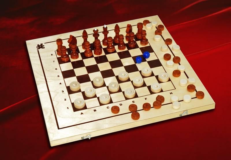 Шахматы, шашки,нарды  3 в 1 - размер: 410*210