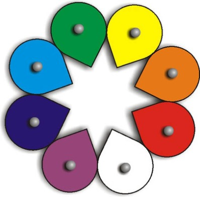 Воскобович. Лепестки (эталоны цвета) - Состав •8 «лепестков» (фанера, цветная пленка красного, оранжевого, желтого, зеленого, голубого, синего, фиолетового и белого цветов) с держателями и липучкой. •Подложка (140х300 мм, ковролин). •Инструкция.
