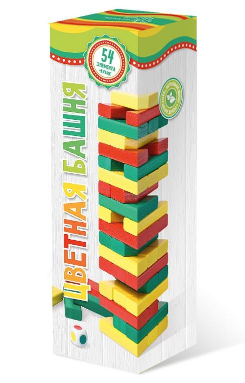 Башня цветная арт.7794 (с кубиком) - Принцип достаточно прост: из ровных деревянных брусков строится башня (каждый новый «этаж» делается с чередованием направления укладки), а затем игроки начинают аккуратно вытаскивать по одному бруску и ставить его на верх башни. Побеждает тот, кто послед