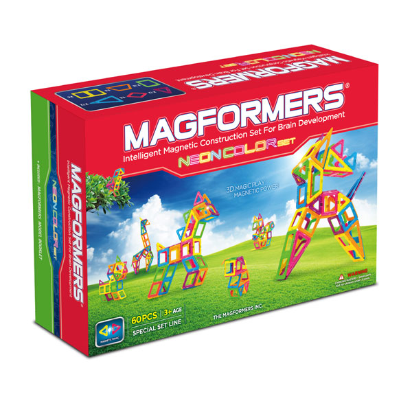 Магнитный конструктор MAGFORMERS Neon color set 60 (63110) - содержит 60 элементов: треугольник: 12 шт. равнобедренный треугольник: 12 шт. квадрат: 18 шт. прямоугольник: 6 шт. ромб: 6 шт. трапеция: 6 шт.