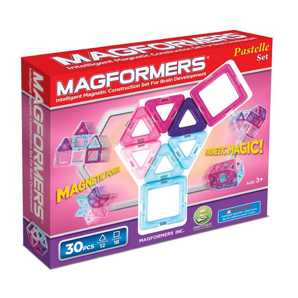 Магнитный конструктор MAGFORMERS 704002(63097) 30 Pastelle - Цветовая гамма этого набора — нежные оттенки розового, голубого и фиолетового.