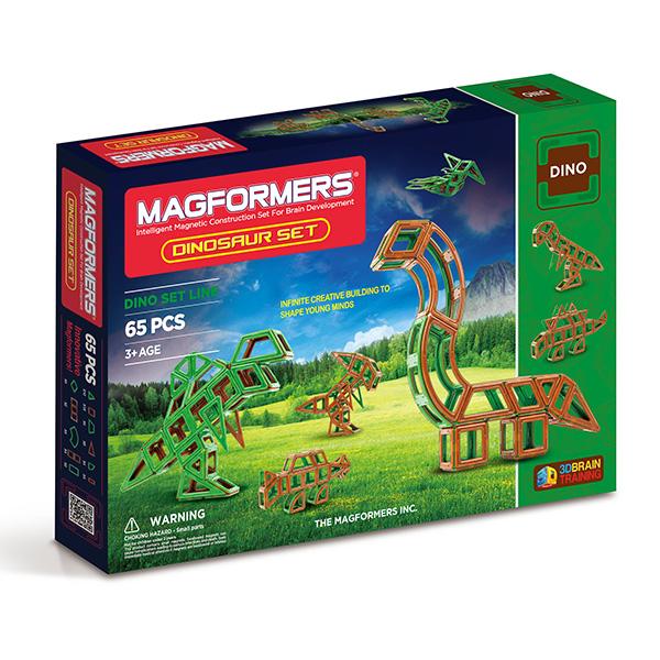 Магнитный конструктор MAGFORMERS 63117 Dinosaur set - Набор «Magformers Dinosaurs Set» содержит 65 элементов:   ● треугольник: 10 шт.  ● равнобедренный треугольник: 8 шт.  ● квадрат: 19 шт.  ● прямоугольник: 4 шт.  ● мини-прямоугольник: 4 шт.  ● ромб: 4 шт.  ● трапеция: 4 шт.  ● сектор: 4 шт