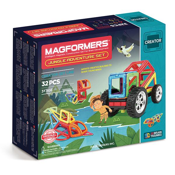 Магнитный конструктор MAGFORMERS 703009 Adventure Jungle 32 set - Набор Magformers Jungle Adventure содержит 32 элемента:  ●треугольник: 4 шт. ●равнобедренный треугольник: 4 шт. ●квадрат: 8 шт. ●прямоугольник: 2 шт. ●ромб: 2 шт. ●трапеция: 2 шт. ●сектор: 4 шт. ●арка: 2 шт. ●клик-колес: 1 шт. ●новое