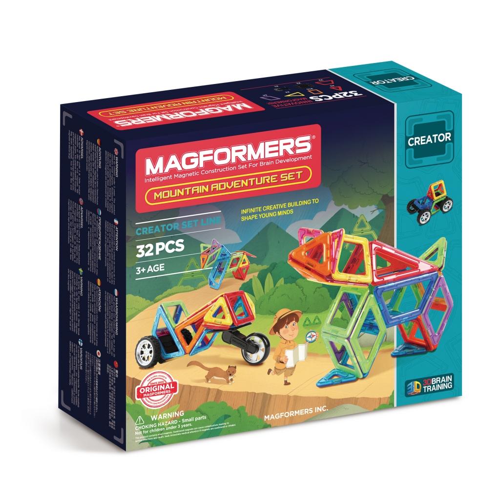 Магнитный конструктор MAGFORMERS 703011 Adventure Mountain 32 se - Набор Magformers Mountain Adventure содержит 32 элемента:  ●треугольник: 9 шт. ●равнобедренный треугольник: 4 шт. ●квадрат: 10 шт. ●ромб: 4 шт. ●трапеция: 2 шт. ●клик-колес: 2 шт. ●мотоциклетное колесо: 1 шт.