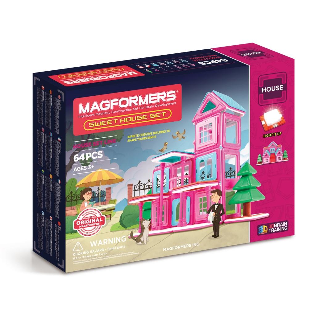 Магнитный конструктор MAGFORMERS 705001 Sweet House Set - Набор Magformers Sweet House содержит 64 элемента: ●треугольник: 2 шт. ●прямоугольный равнобедренный треугольник: 2 шт. ●квадрат: 20 шт. ●прямоугольник: 8 шт. ●палочка: 4 шт. ●супер-палочка: 2 шт. ●балкон: 2 шт. ●двойное окно: 2 шт. ●кир