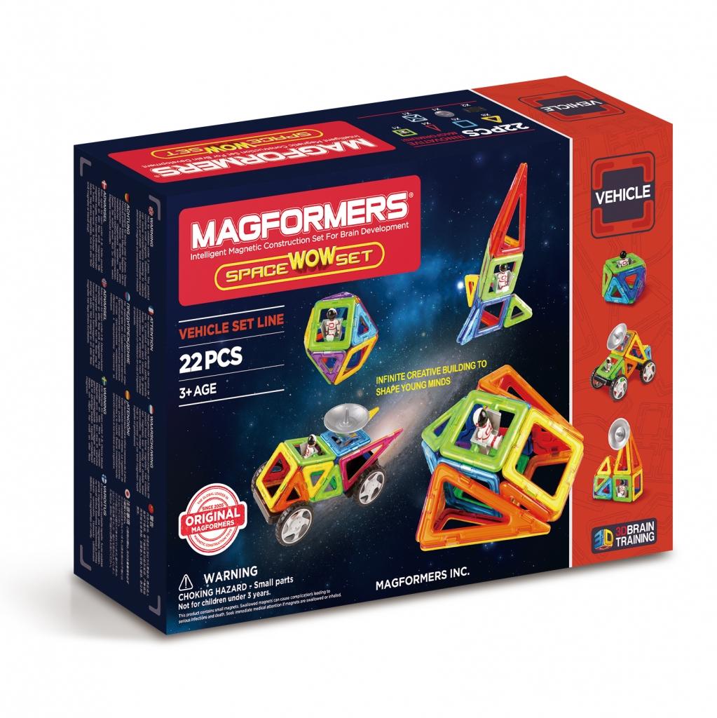 Магнитный конструктор MAGFORMERS 707009 Space Wow Set - Набор Magformers Space Wow Set содержит 22 элемента: ●треугольник: 8 шт. ●равнобедренный треугольник: 4 шт. ●квадрат: 5 шт. ●астронавт: 1 шт. ●клик-колес: 2 шт. ●новый вращающийся блок: 1 шт. ●антенна: 1 шт.