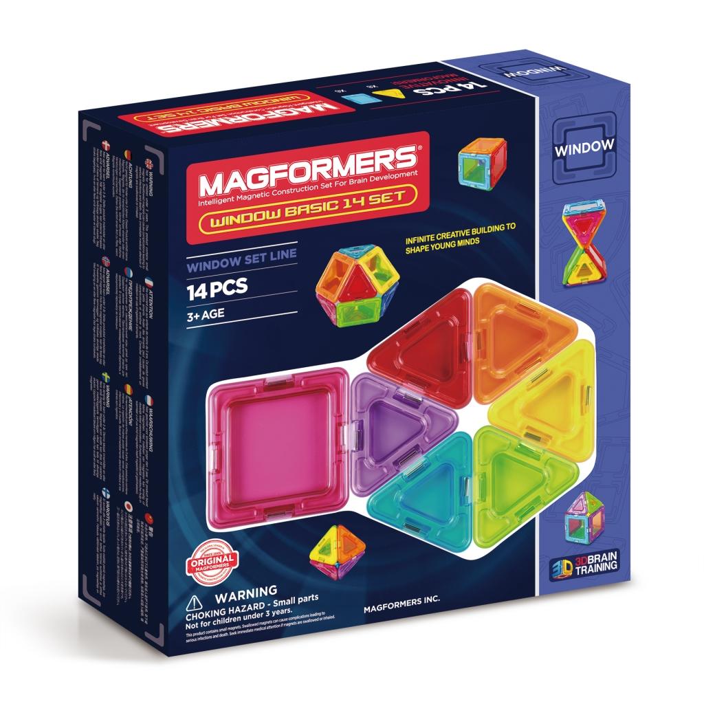 Магнитный конструктор MAGFORMERS 714001 Window Basic 14 set - Magformers Window Basic 14 содержит 14 элементов:  ●сплошной треугольник: 8 шт. ●сплошной квадрат: 6 шт.