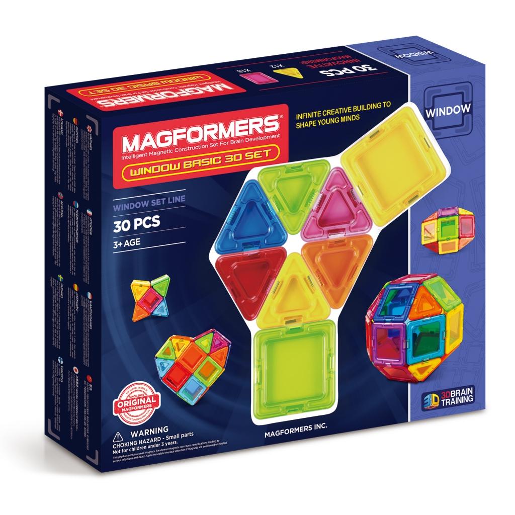 Магнитный конструктор MAGFORMERS 714002 Window Basic 30 set - Набор Magformers Window Basic 30 Set содержит 30 элементов:  ●сплошной треугольник: 12 шт. ●сплошной квадрат: 18 шт.
