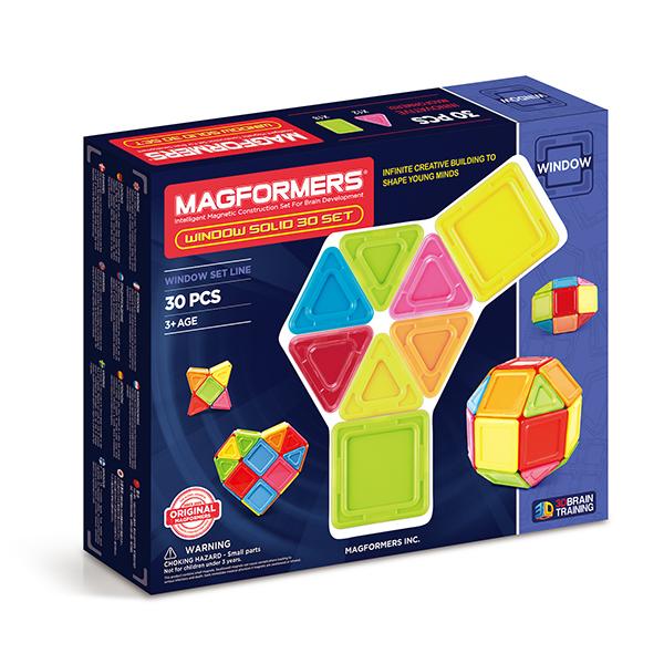 Магнитный конструктор MAGFORMERS 714006 Window Solid 30 set - Набор Magformers Window Solid 30 Set  содержит 30 элементов: ● сплошной непрозрачный треугольник: 12 шт. ● сплошной непрозрачный квадрат: 18 шт.