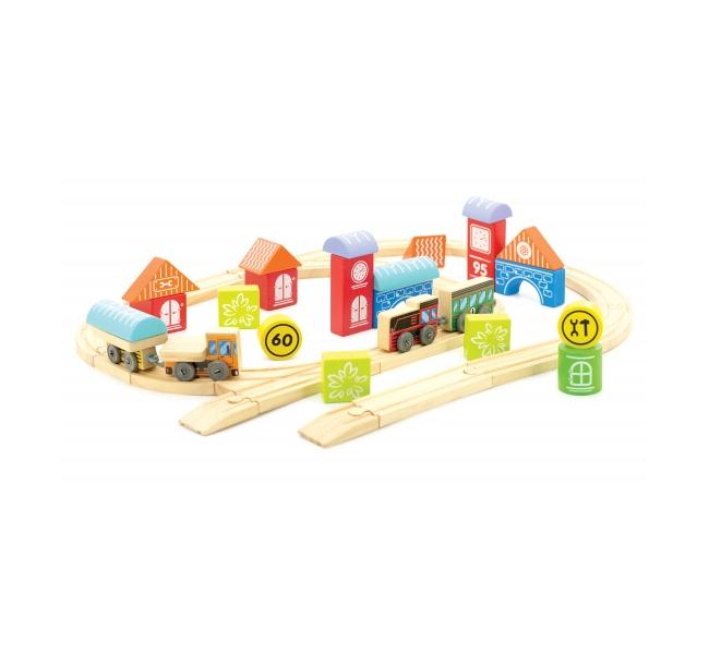 Трасса город - С его помощью ребенок сможет собрать железнодорожную трассу, а также несколько зданий, с которыми обычная дорога превратится в транспортную систему миниатюрного городка.
