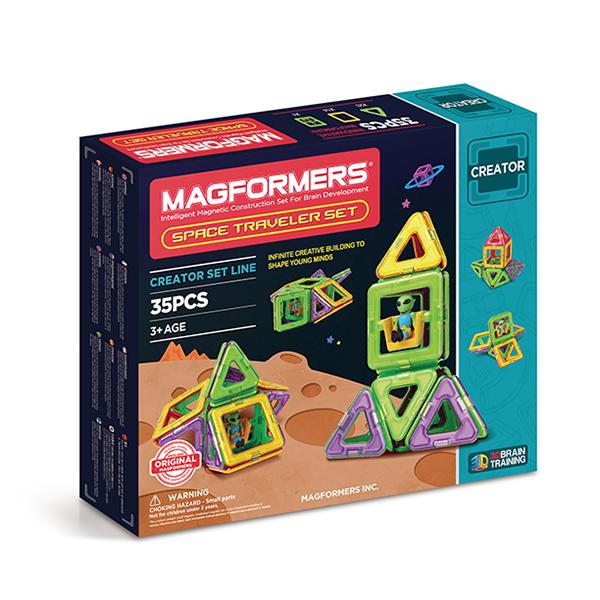Магнитный конструктор MAGFORMERS 703007 Space Traveler Set - Набор «Magformers Space Traveler Set» содержит 35 элементов:  ●треугольник: 20 шт. ●квадрат: 14 шт. ●инопланетянин: 1 шт.