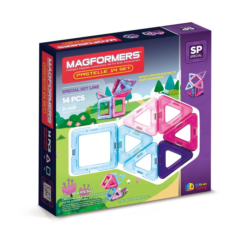Магнитный конструктор MAGFORMERS 704001 14 Pastelle set - В набор входит: - 8 маленьких треугольников, - 6 квадратов.