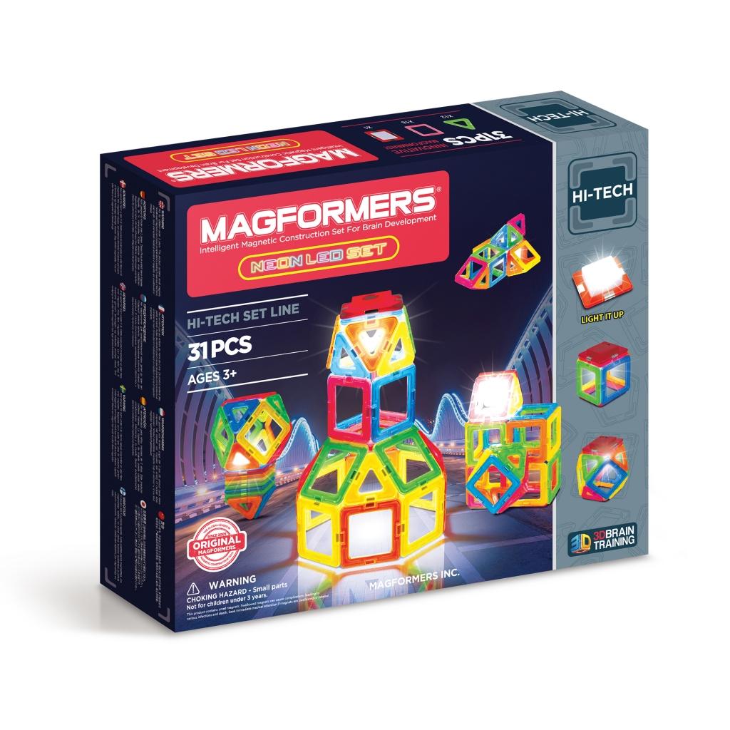 Магнитный конструктор MAGFORMERS 709007 Neon Led set - Набор «Magformers Neon Led set» содержит 31 элемент:       Квадраты — 18 штук     Треугольники — 12 штук     Светодиодный элемент