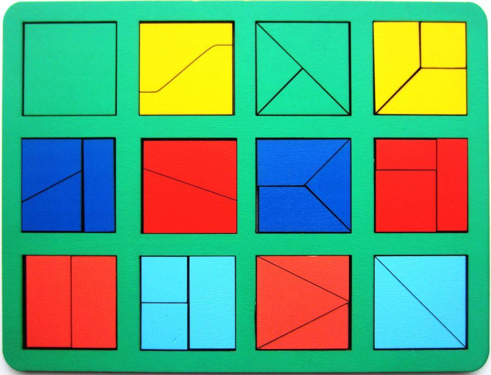 Собери квадрат 1 уровень сложности макси - Материал - крашеная фанера (6мм)