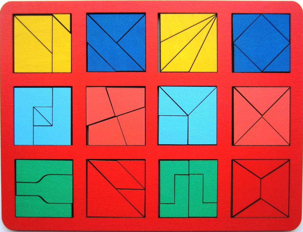 Собери квадрат 2 уровень сложности макси - Материал - крашеная фанера (6мм)