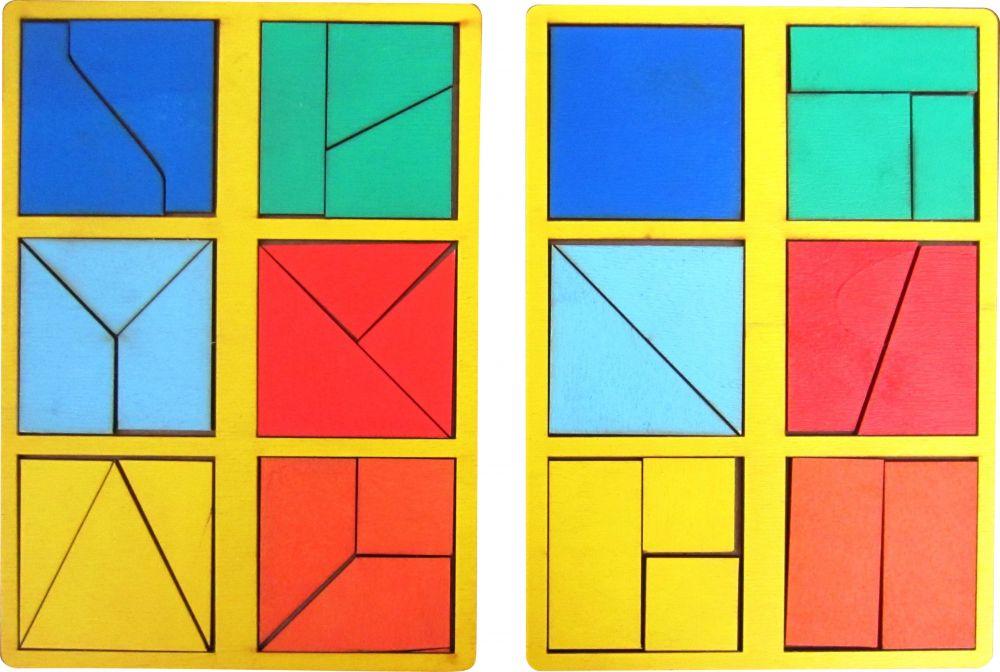 Собери квадрат 2 уровень сложности мини - Материал - крашеная фанера (3мм)