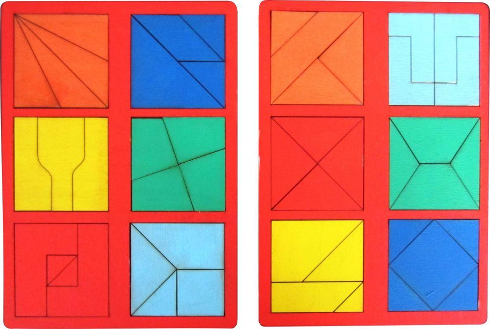 Собери квадрат 3 уровень сложности мини - Материал - крашеная фанера (3мм)
