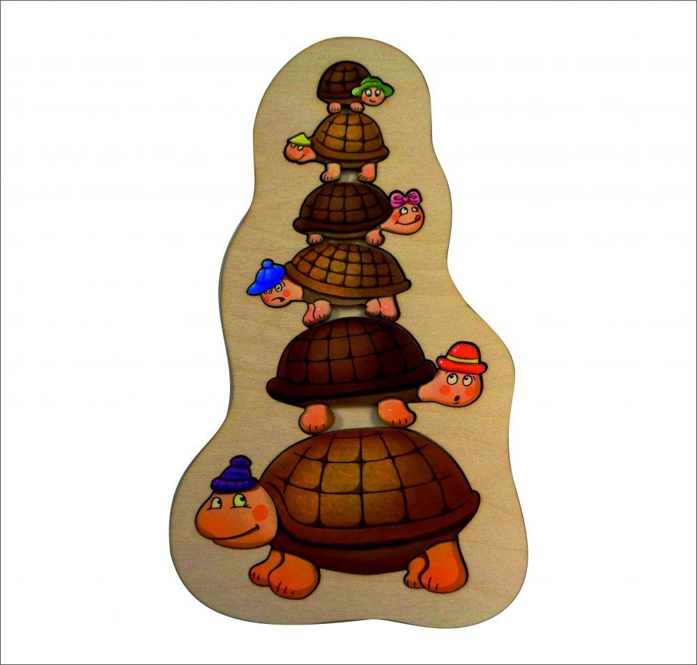 Пазл Черепашки - Размер пазла: 27 см*16 см Материал: березовая фанера, бумага Размер самой маленькой черепашки: 2 см*3,2 см, размер самой большой черепашки 13 см*8 см