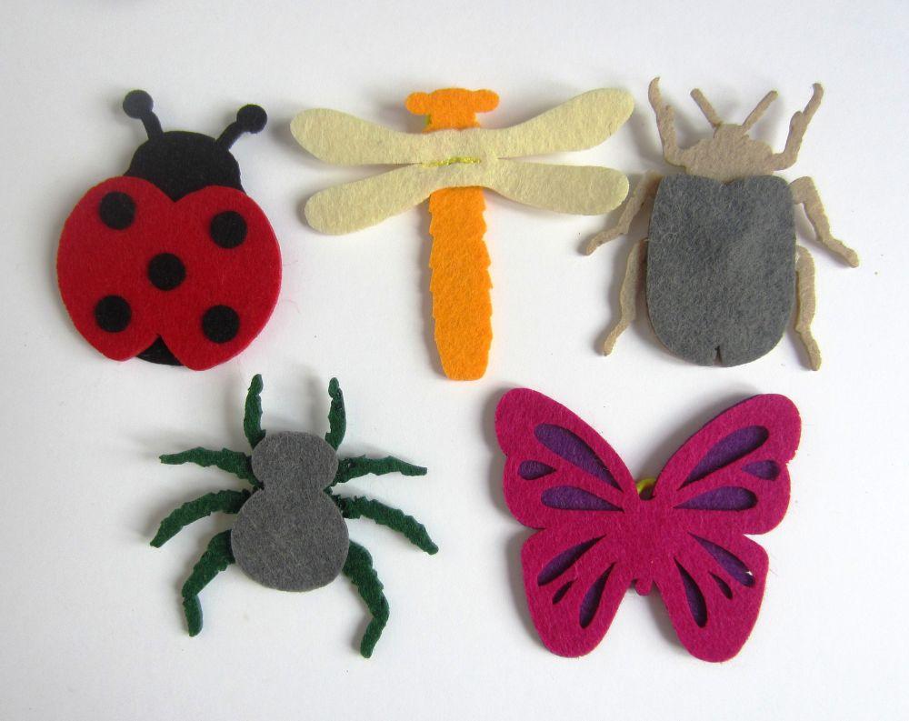 Насекомые из фетра (пальчиковые игрушки) - Размер 2,5 см*18 см Состав набора: 5 браслетов на липучках