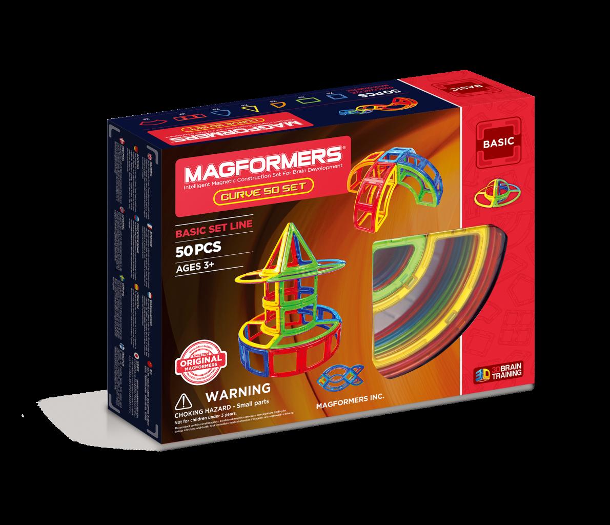 Магнитный конструктор MAGFORMERS 701012 Curve 50 set - Набор «Magformers Curve 50 Set» содержит 50 элементов: * квадрат 10 шт. * сектор 8 шт. * суперсектор 8 шт. * арка 8 шт. * суперарка 4 шт. * сегмент конуса 4 шт. * сегмент сферы 8 шт.