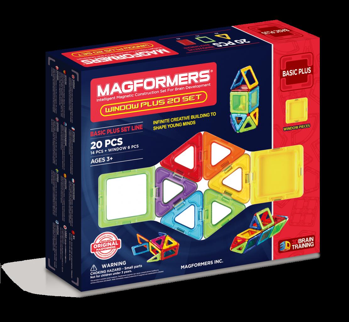 Магнитный конструктор MAGFORMERS 715001 Window Plus Set 20 set - Набор «Magformers Window Plus 20 Set» содержит 20 элементов: * треугольник 8 шт. * квадрат 6 шт. * прозрачный квадрат 6 шт.