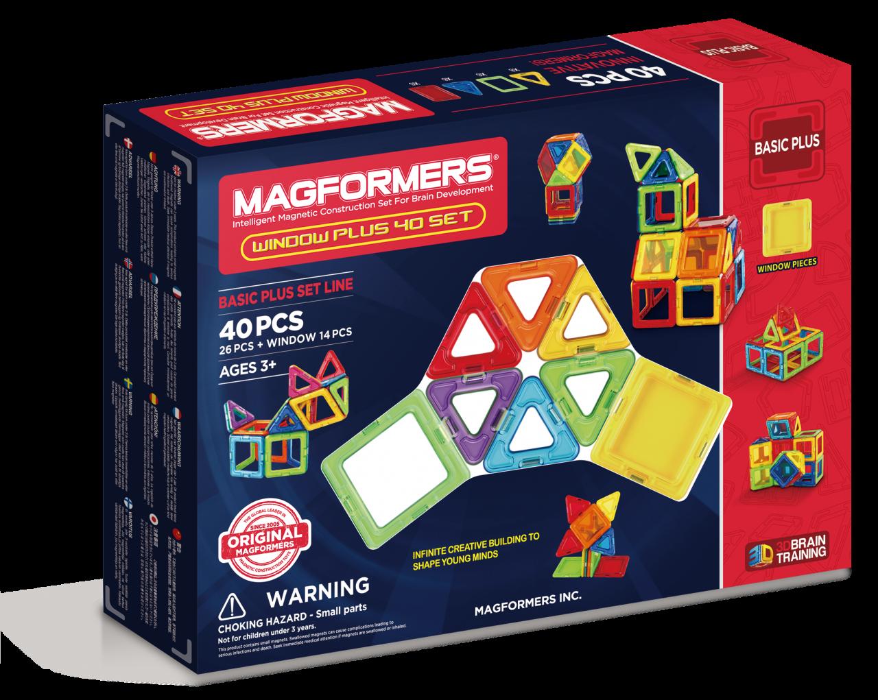 Магнитный конструктор MAGFORMERS 715002 Window Plus Set 40 set - Набор «Magformers Window Plus 40 Set» содержит 40 элементов: * треугольник 8 шт. * прозрачный треугольник 8 шт. * квадрат 18 шт. * прозрачный квадрат 6 шт.