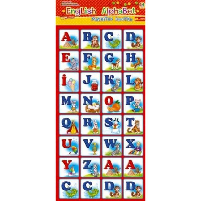 Английский алфавит 4204 - 64 магнитных квадратика с буквами