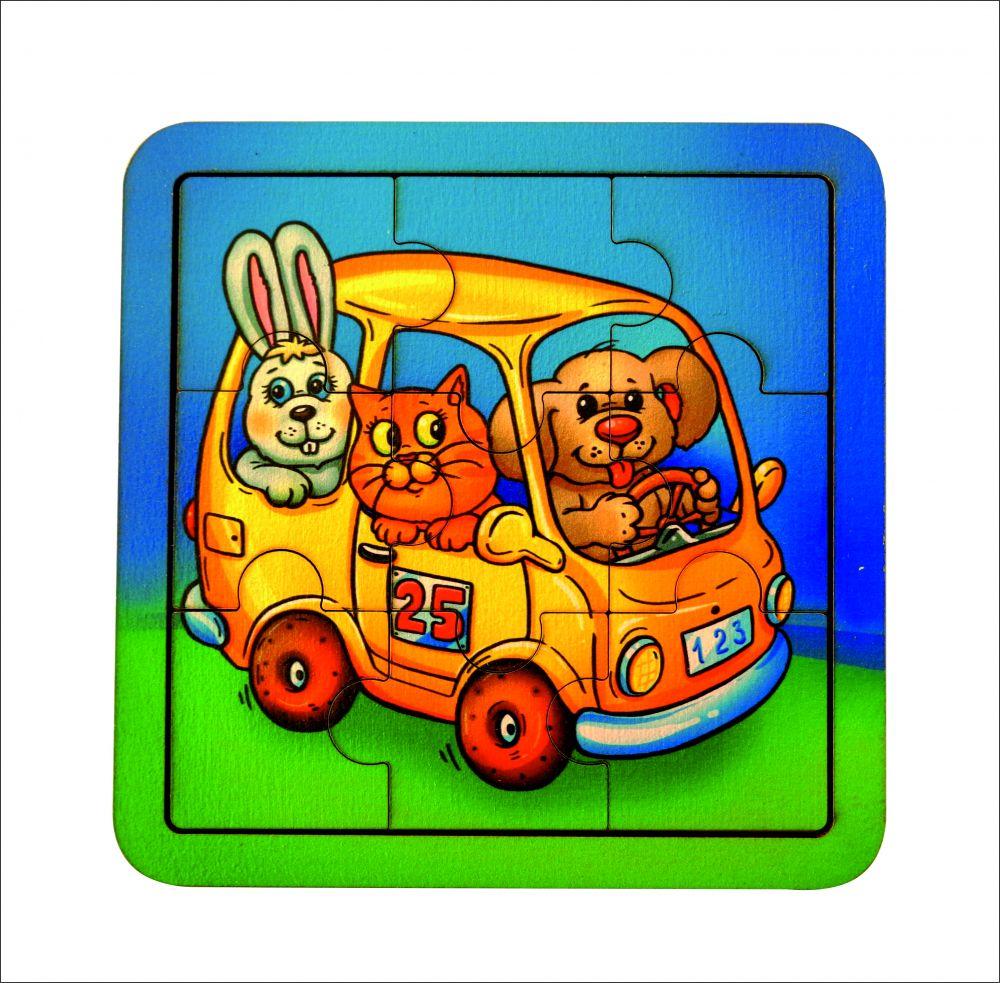 Пазл Автобус - Количество элементов:  9 Размер: 14 см*14 см Материал: фанера, 3 мм