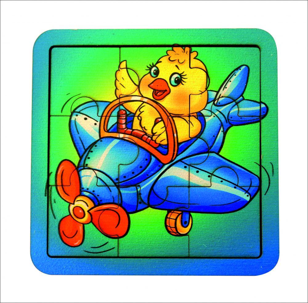 Пазл Самолет - Количество элементов:  9 Размер: 14 см*14 см Материал: фанера, 3 мм