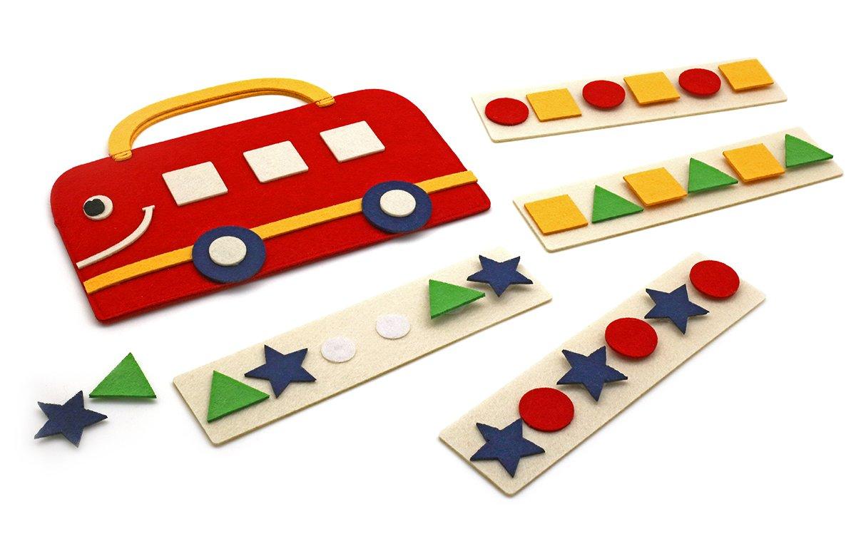 Сумка-игралка Автобус - Размер сумки: 23 см*18 см  Игра для развития логического мышления, изучения геометрических фигур и четырех основных цветов.