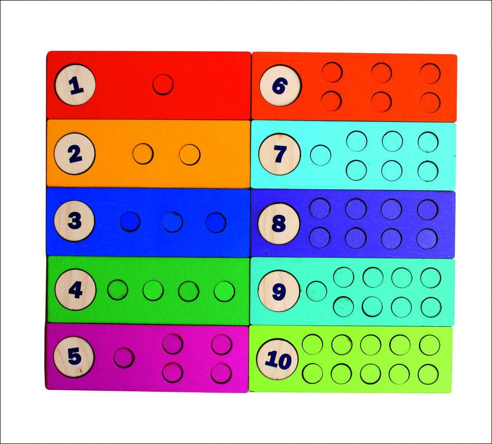 Счетные дощечки - Размер дощечек: 15 см*5 см Диаметр кружков: 1,5 см, 3 см
