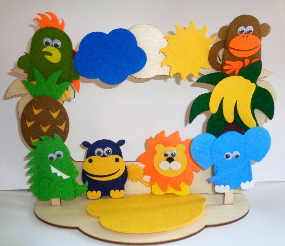 Театр на столе Африка - высота пальчиковых игрушек: 7 см  высота ширмы: 20 см.