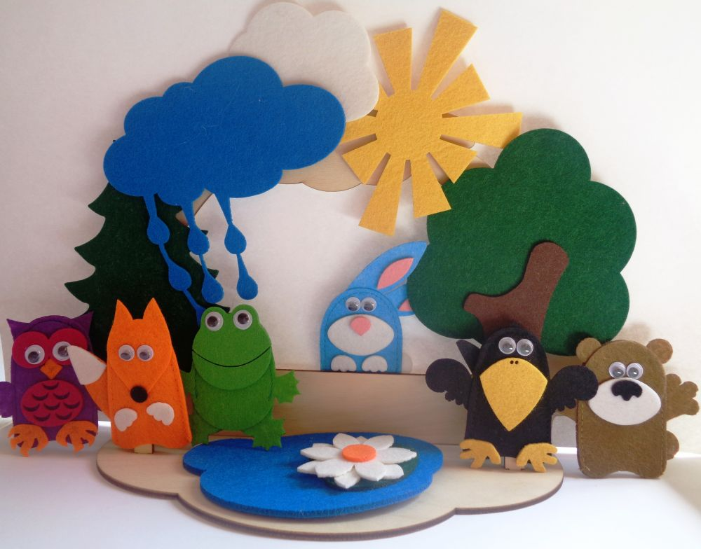Театр на столе Лесные жители - высота пальчиковых игрушек: 7 см  высота ширмы: 20 см.