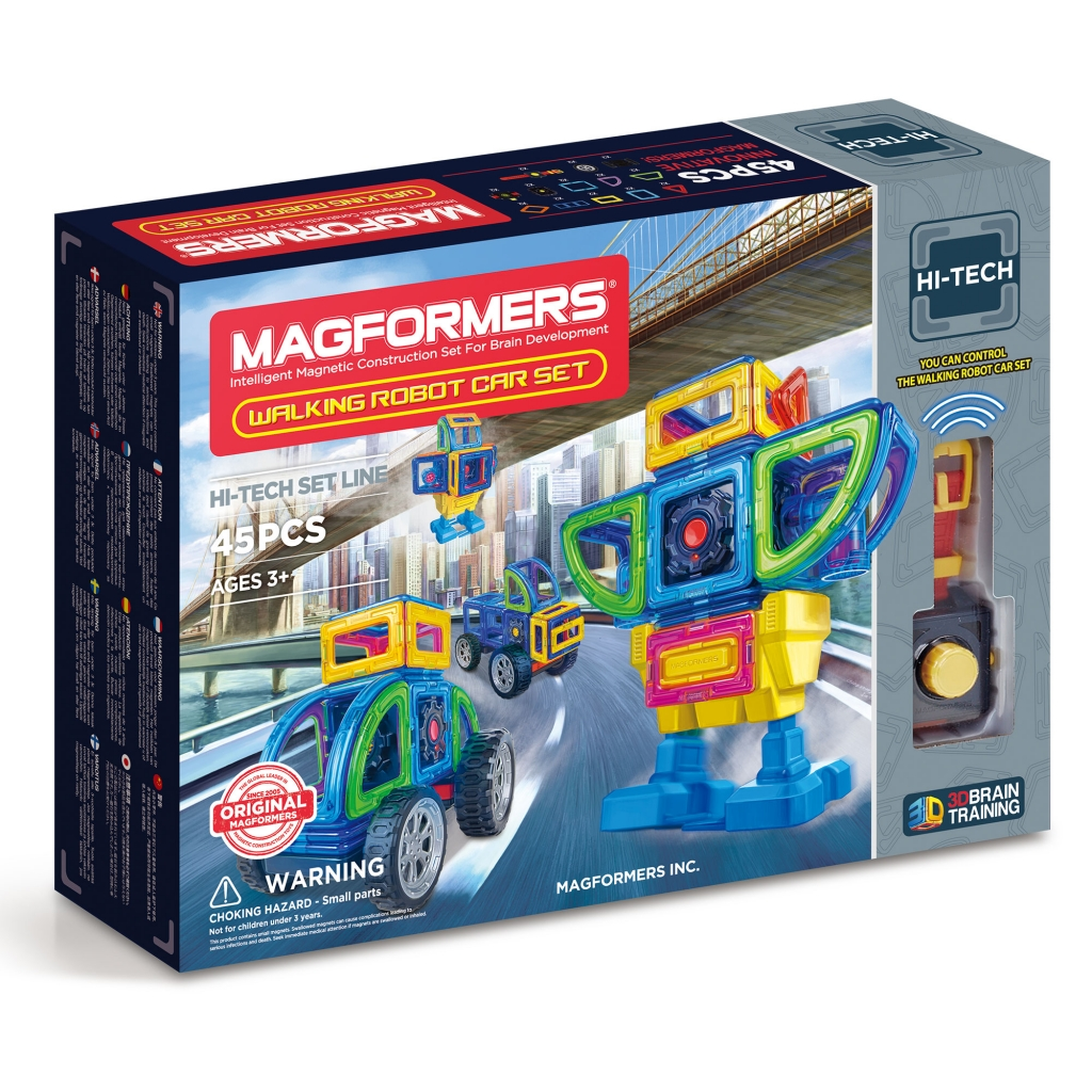 Магнитный конструктор MAGFORMERS 709008 Walking Robot Car Set 45 - Набор «Magformers Walking Robot Car Set» содержит 45 элементов