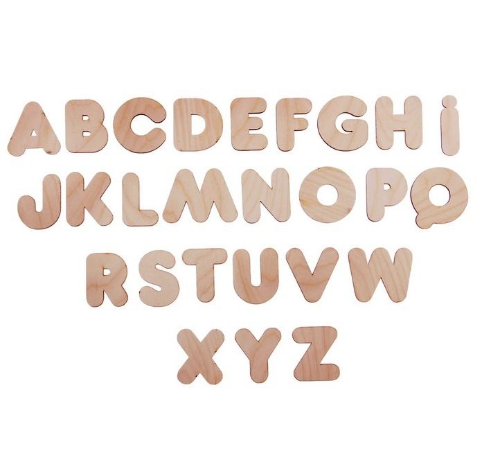 Английский алфавит (пакет) - Высота буквы: 4,5 см В наборе 26 букв Материал: фанера, 3 мм.