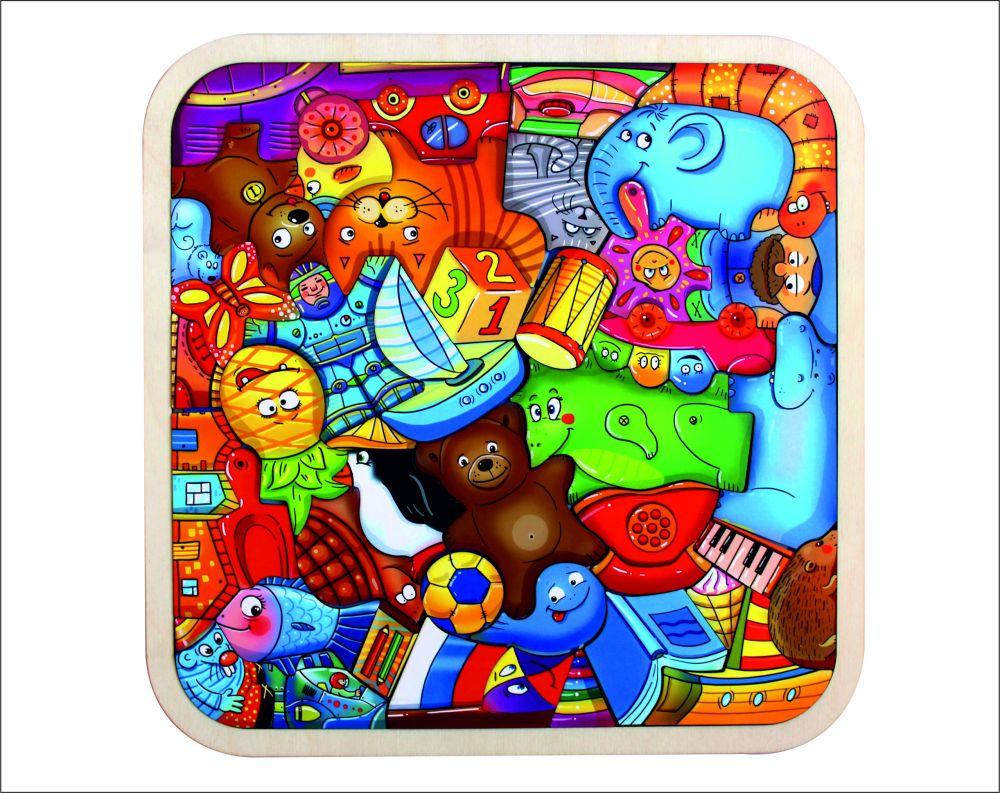 Пазл-головоломка Игрушки - Размер пазла: 28 см*28 см Кол-во элементов: 42 шт