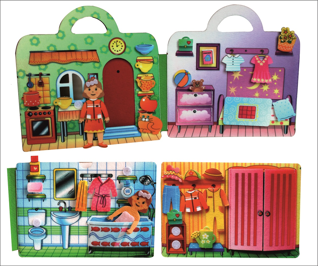 Сумка-игралка Кукольный домик - Материал: фетр Размер сумки:  22 см*21 см Высота куклы: 11 см (1шт)