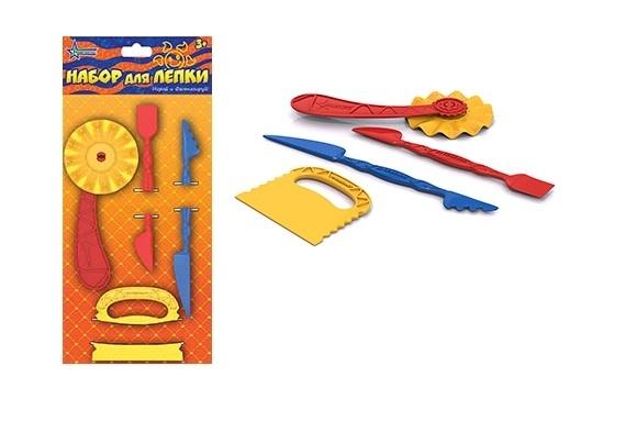 Нордпласт Набор для лепки 4 детали - В набор входят 2 длинных узких стека, широкий стек и фигурный ролик.