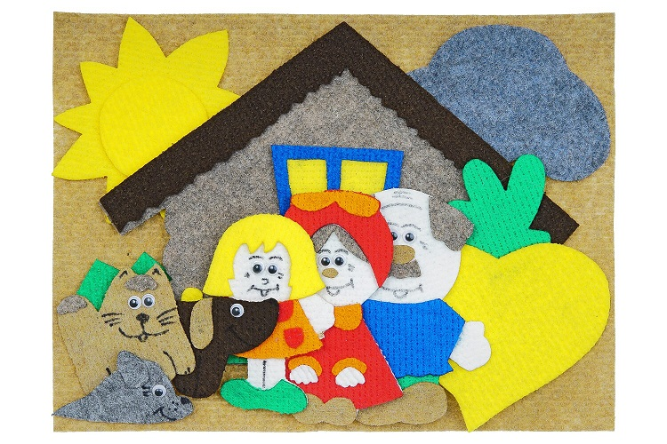Репка с игровым полем мини - Изба, дед, бабка, внучка, жучка, кошка, мышка, репка, игровое поле 20*30см.