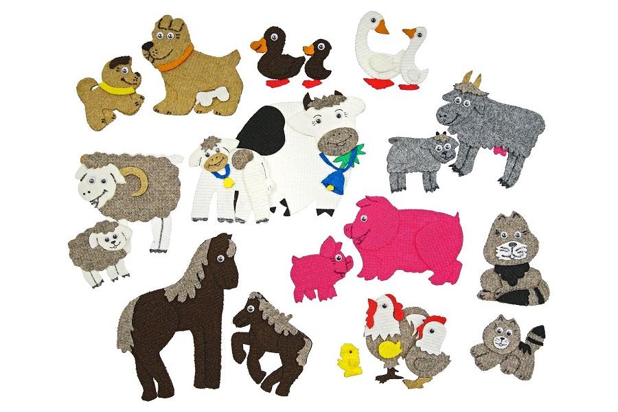 Домашние животные с игровым полем мини - Состав: Поле 20*30см, домик, лошадь, овечка, корова, петушок, утка, гусь, дерево, солнышко.