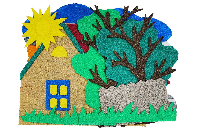 Четыре домика большие без игрового поля - В набор входит домик, забор, дерево 2 штуки, а также аксессуары для превращения домика в осенний, зимний, весенний или летний:по 10 штук цветочки, листики, яблочки, капли; кроны деревьев 4 штуки; а также 3 тучи, солнце и снежные шапки.