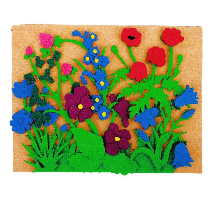 Луговые цветы с игровым полем - Ромашка, мак, василек, колокольчики, клевер, незабудки, кашка, лютик, фиалки 15*15см, игровое поле 25*35см.