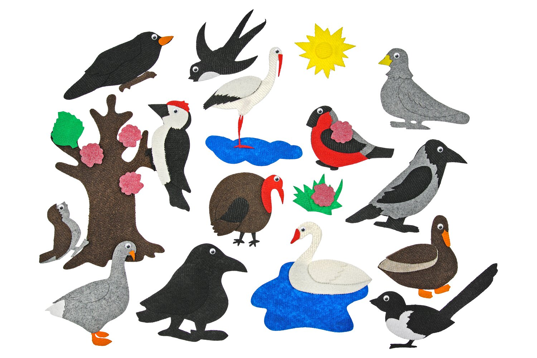 Городские птицы без игрового поля - В комплекте: Дерево, озеро, трава, цветочки, гусь, утка, аист, индюк, ворон, ворона, ласточка, дятел, воробей, сорока, голубь, снегирь, лебедь, синица.