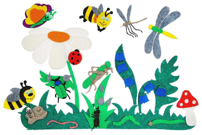 Насекомые с игровым полем - Игровое поле 28*45см,трава-3шт., колокольчики, ромашка, бабочка, гусеница, улитка, оса, пчела, божья коровка, кузнечик, стрекоза, комар, жук, муха, муравей, мухомор от 2*2см до 20*17см.