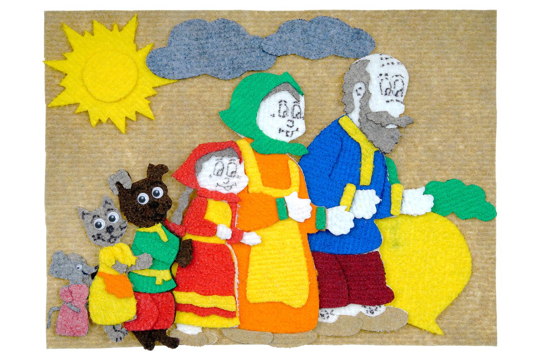 Репка с игровым полем 1 (11дет.) - игровое поле 25*35см, репка, дед, баба, внучка, жучка, кошка, мышка, солнце, облако-2 шт от 2*2см до 17*12см.