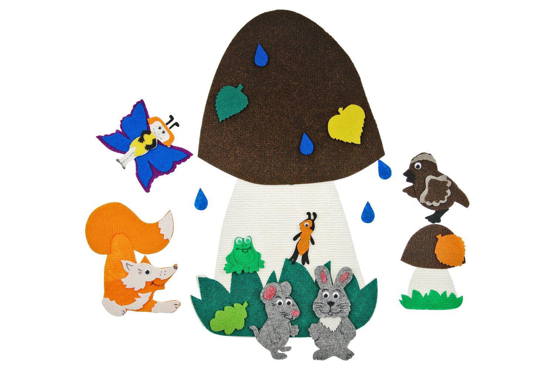 Под грибом без игрового поля - Гриб большой 30*50см, гриб маленький, лист, бабочка, капли, листья маленькие-4 шт, воробей, лиса, заяц, мышка, муравей от 1*1см до 17*17см.