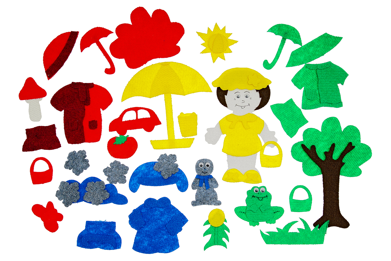 Одежда по цветам с игровым полем (38дет) - В набор входят девочка и 4 комплекта одежды на каждое время года. Лето (желтый): платье, панамка, босоножки, зонт, корзинка, ведерко, мяч, солнце. Осень (красный) : шапка, комбинезон, ботинки, дерево, машинка, бабочка, зонт, корзинка, гриб, яблоко. Зима (